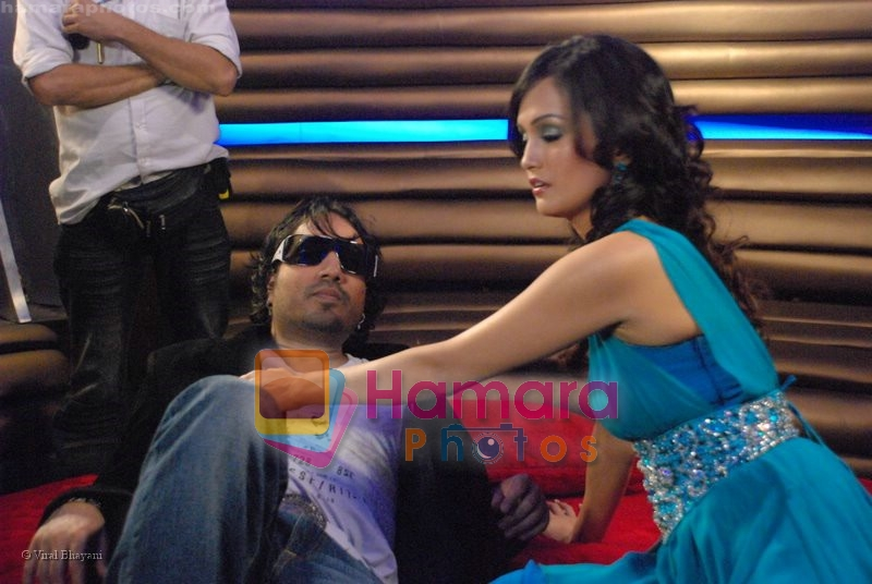 Mika Singh and Nisha Rawal On Location of Tom Dick & Harry Rock Again in  Click Nixon Studio on June 25th 2008