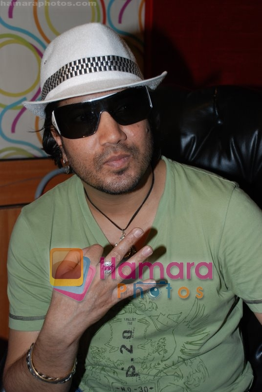 Mika Singh at the recording of Mansi Scott's debut album with Mika Singh at MEET Brothers recording studio on 27th June 2008