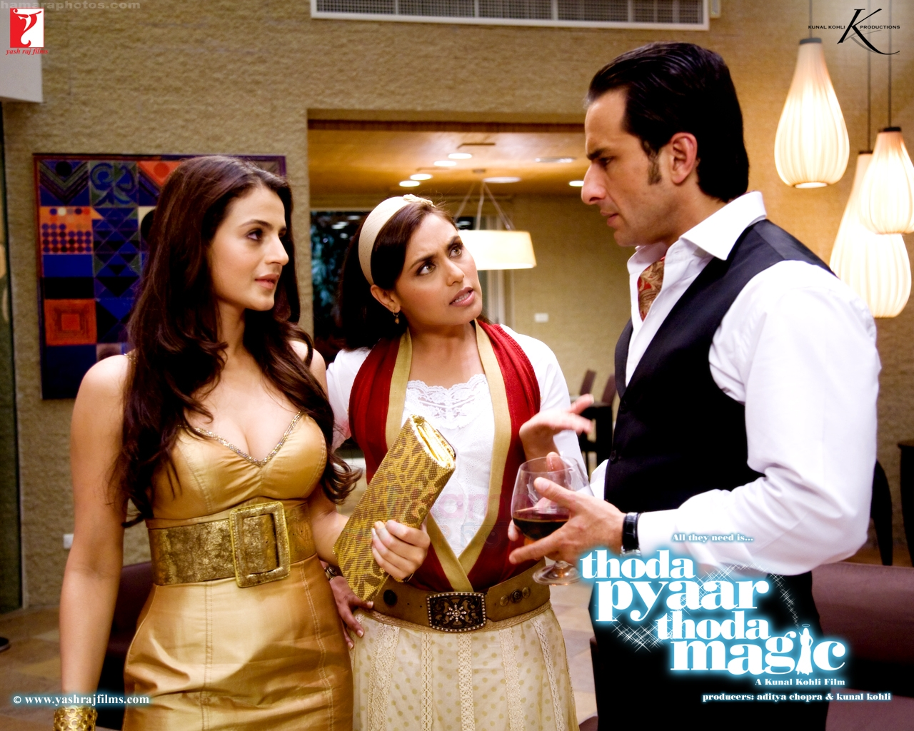 Ameesha Patel, Rani Mukherjee, Saif Ali Khan in Thoda Pyaar Thoda Magic Wallpaper