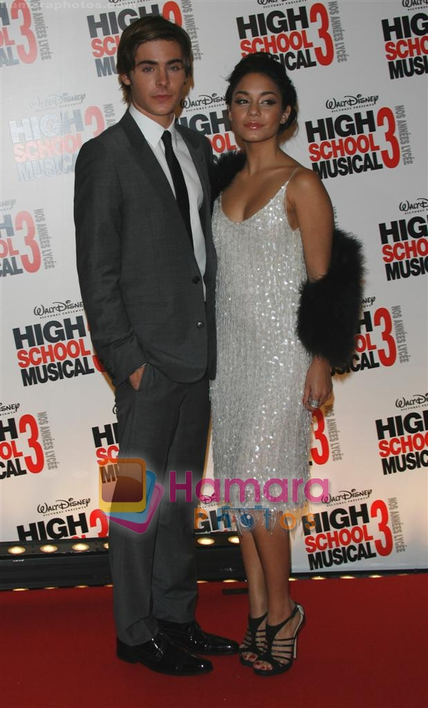 Zac Efron, Vanessa Hudgens at the High School musical 3 premiere in Paris on 20th November 2008