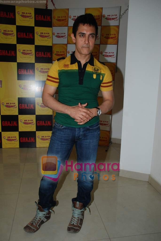 Aamir Khan on the sets of Radio Mirchi 98.3 FM in Mahalaxmi on 27th December 2008