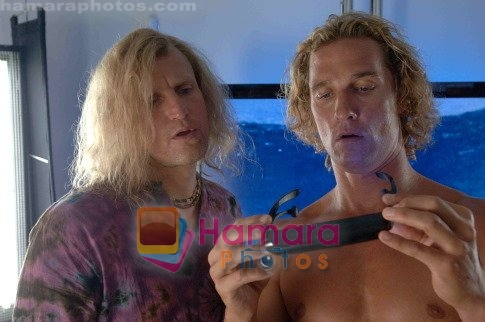 Matthew McConaughey, Woody Harrelson in still from the movie Surfer, Dude