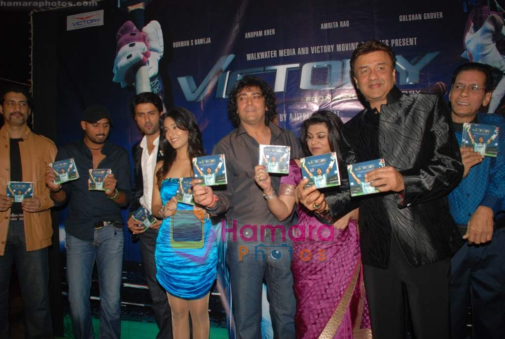 Amrita Rao, Harman Baweja, Harbhajan Singh, Anu Malik at Victory film music launch in Vie Lounge on 28th December 2008