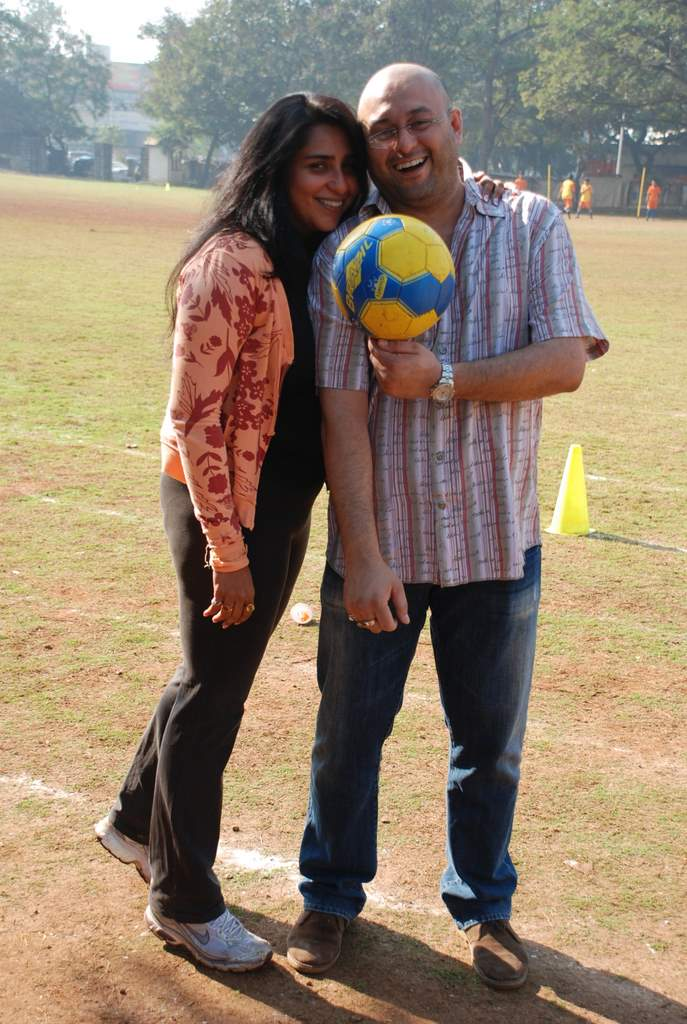 Raju Singh and wife Sherley Singh at the event to promote football training at Jamnabhai  grounds in juhu on 29th December 2008