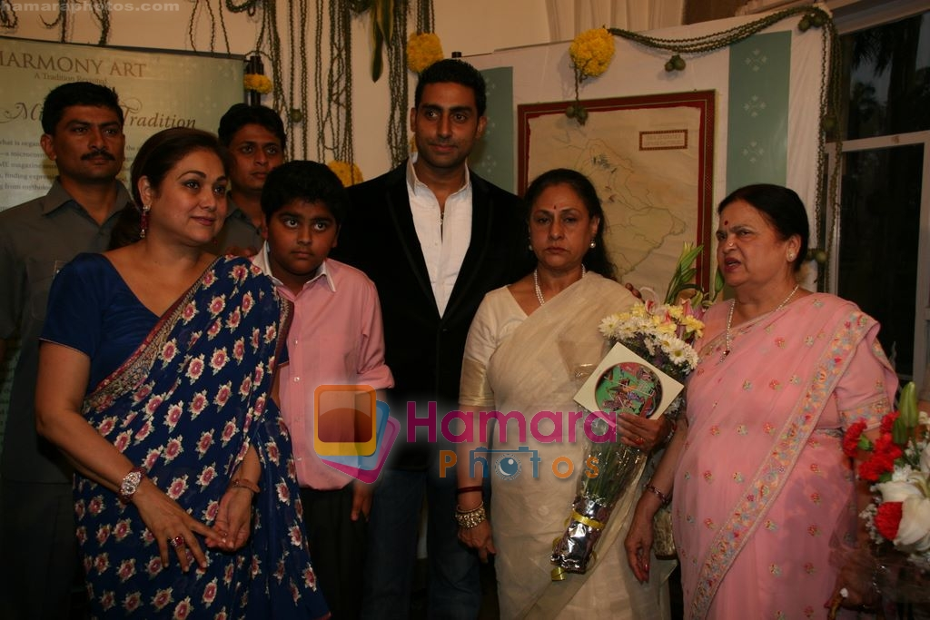 Tina Ambani, Abhishek and Jaya Bachchan, Kokilabein Ambani at Harmony Exhibition in Jehangir Art Gallery, Mumbai on 13th March 2009