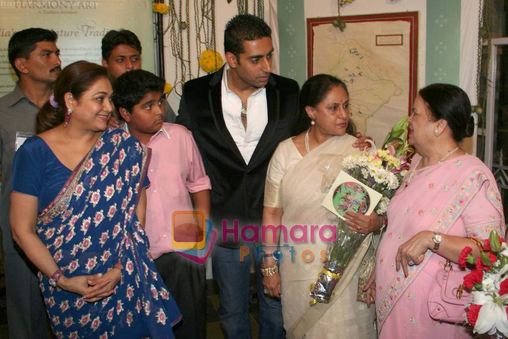 Abhishek and Jaya Bachchan, Tina and Kokilabein Ambani at Harmony Exhibition in Jehangir Art Gallery, Mumbai on 13th March 2009