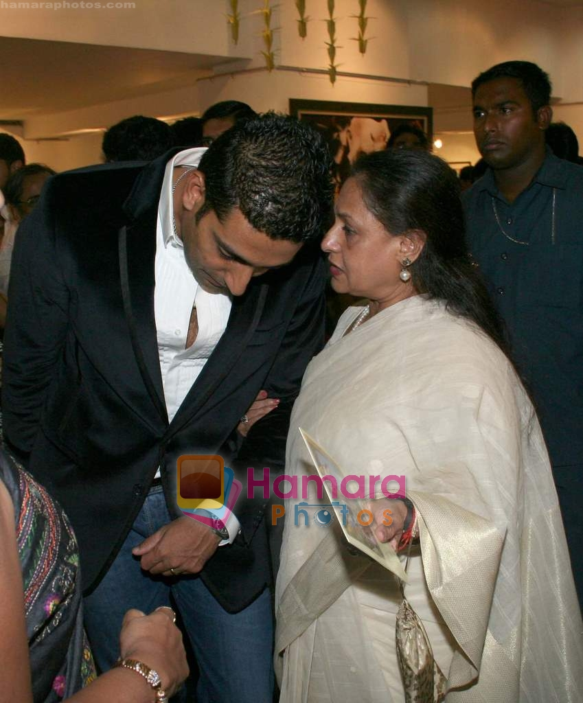 Abhishek and Jaya Bachchan at Harmony Exhibition in Jehangir Art Gallery, Mumbai on 13th March 2009