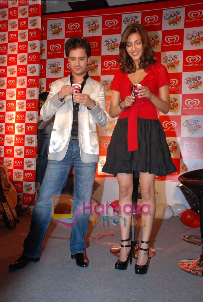 Raghav and Shruti at Raghav Sanchar and Shruti Hassan's launch album with Cornetto in Taj Land's End on 1st April 2009