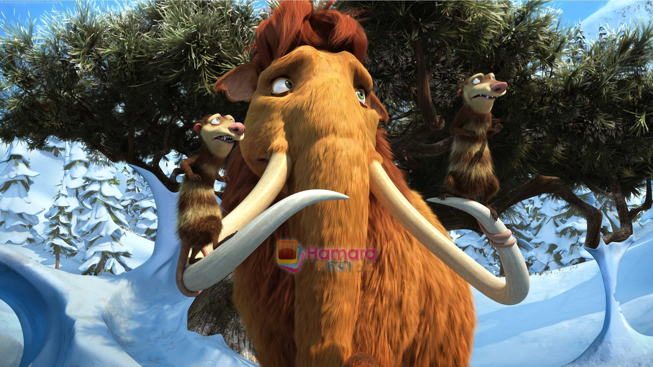 ellie with crash & eddie in the still from movie ice age 3 / ice