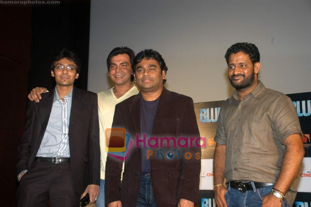 A R Rahman and Resul Pookutty at Blue film music preview in Cinemax on 12th Aug 2009