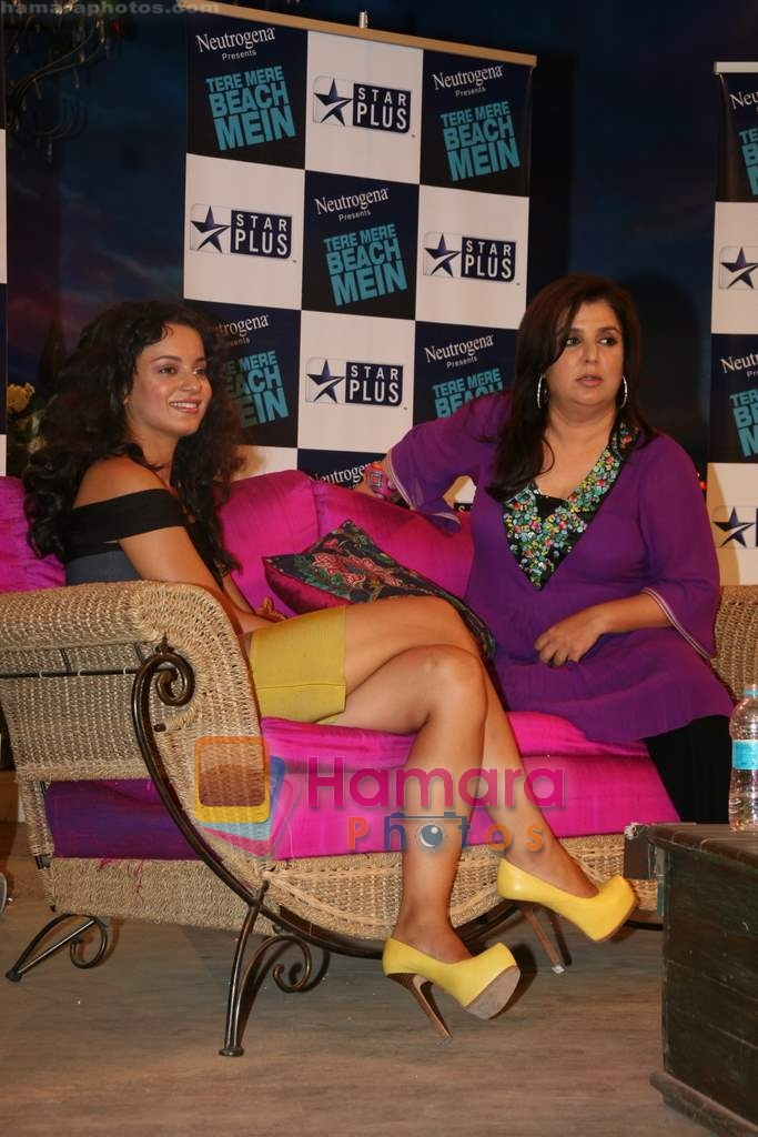 Kangana Ranaut, Farah Khan on the sets of Farah Khan's chat show Tere Mere Beach Mein in Filmcity on 16th Aug 2009