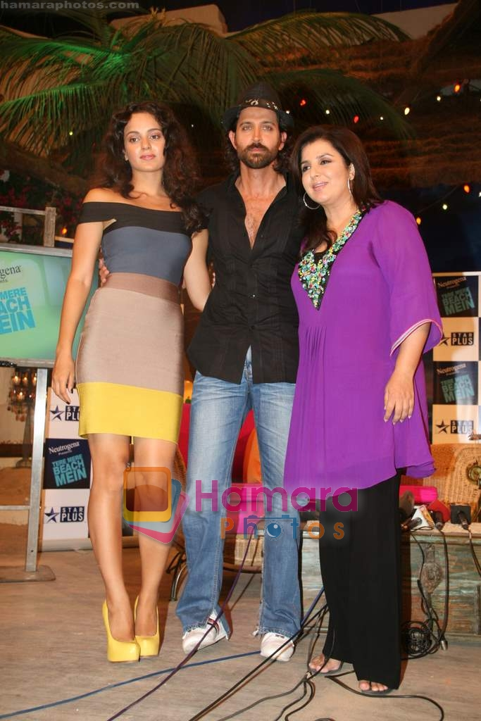 Kangana Ranaut, Hrithik Roshan, Farah  Khan on the sets of Farah Khan's chat show Tere Mere Beach Mein in Filmcity on 16th Aug 2009