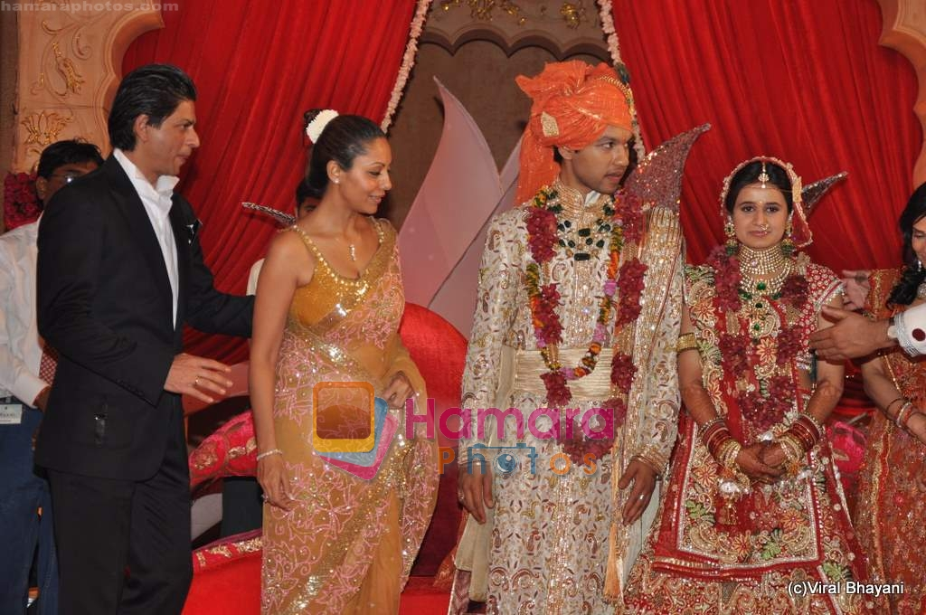 Shahrukh Khan Gauri At Saurabh Dhoot And Radhika Singals Wedding In Turf Club On 16th Feb 2010