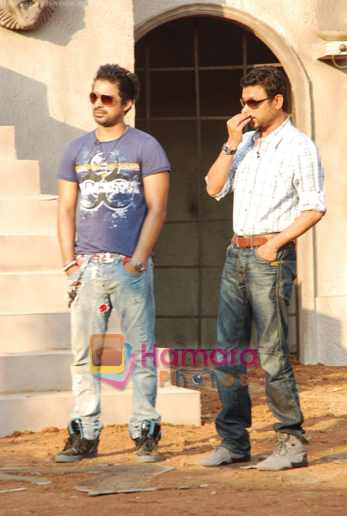 Irrfan Khan, Rannvijay Singh of the sets of MTV Roadies in Andheri on 23rd March 2010
