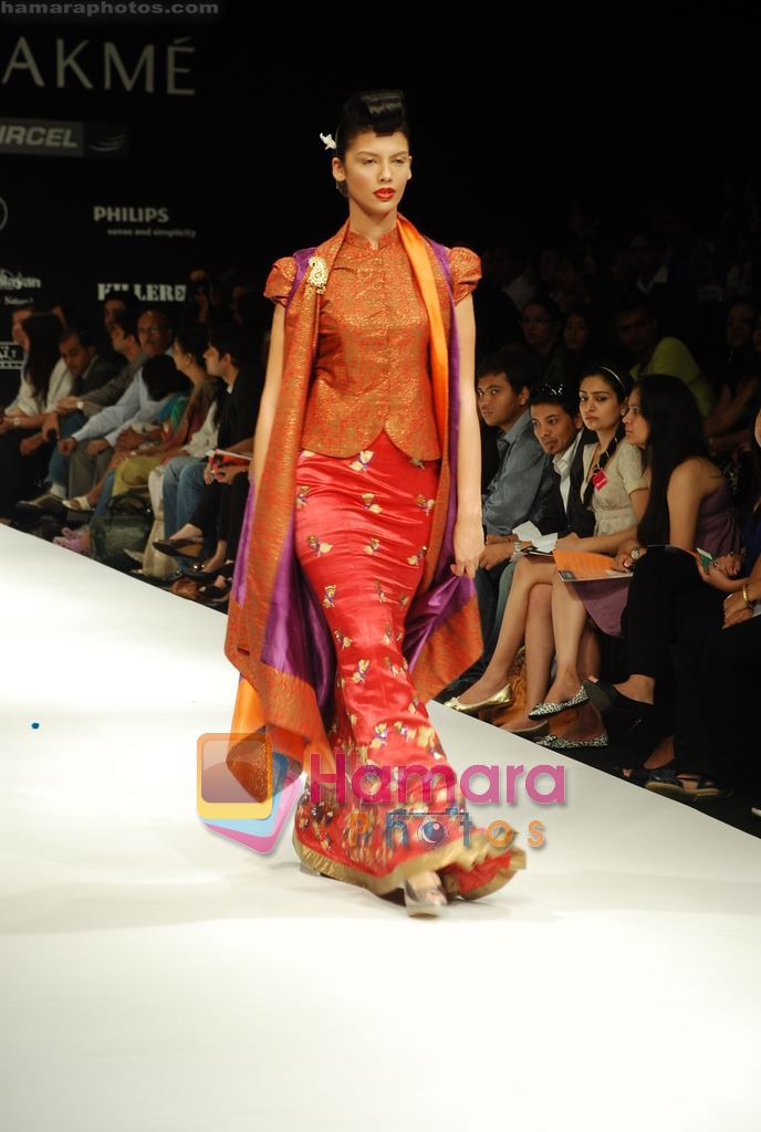 Model walks the ramp for V J Balhara Show at Lakme Winter fashion week day 3 on 19th Sept 2010