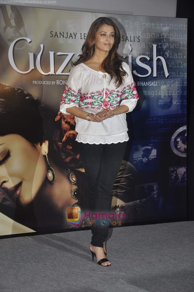 Aishwarya Rai Bachchan unveil the first look of the film Guzaarish in Cinemax on 22nd Sept 2010