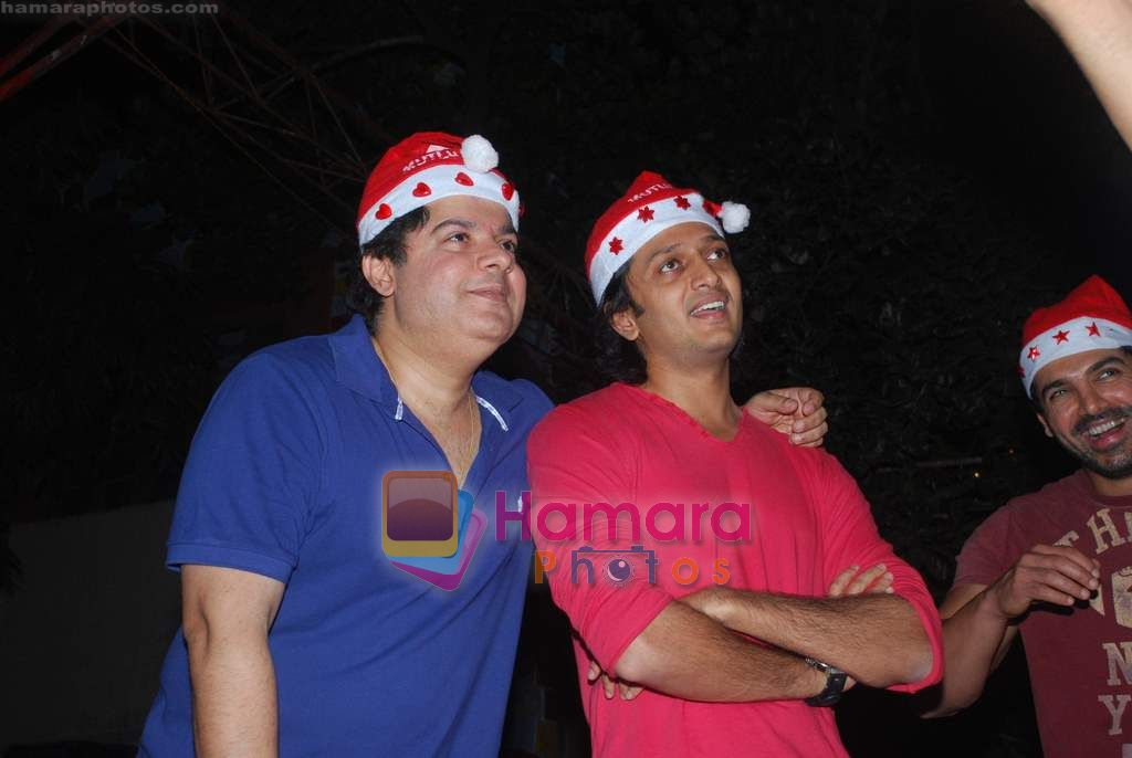 Sajid Khan, Ritesh Deshmukh spend christmas with children of St Catherines in Andheri on 25th Dec 2010