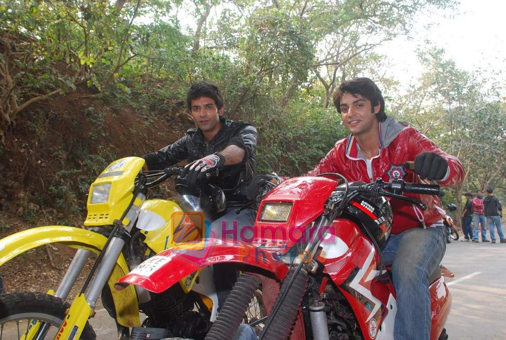 TV stars Shravan and Ranbir ( Karan Wahi) bike race in Filmcity, Mumbai on 28th Dec 2010