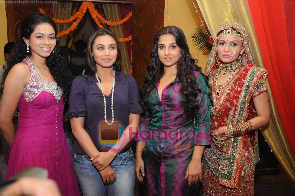 Vaishnavi Dhanraj, Rani Mukherji, Vidya Balan and Simran Kaur on sets of Na Aana Is Des Laado to promote No One Killed Jessica on 29th Dec 2010