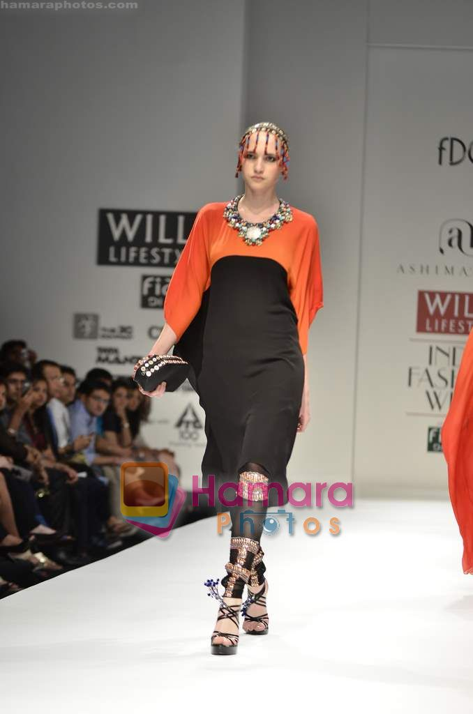 Model walks the ramp for Ashima Leena show on Wills Lifestyle India Fashion Week 2011 - Day 2 in Delhi on 7th April 2011