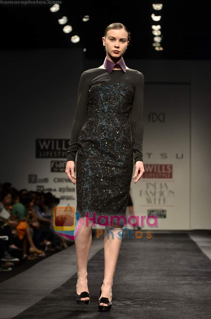 Model walks the ramp for Atsu show on Wills Lifestyle India Fashion Week 2011-Day 4 in Delhi on 9th April 2011