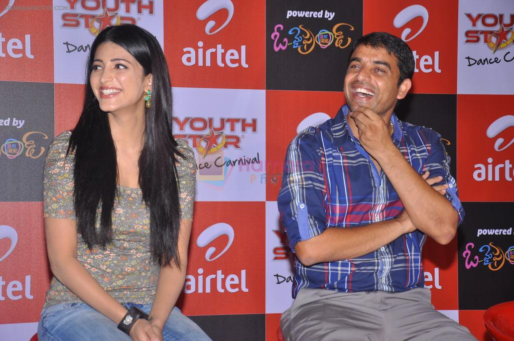 Shruti Hassan, Dil Raju attends 2011 Airtel Youth Star Hunt Launch in AP on 24th September 2011