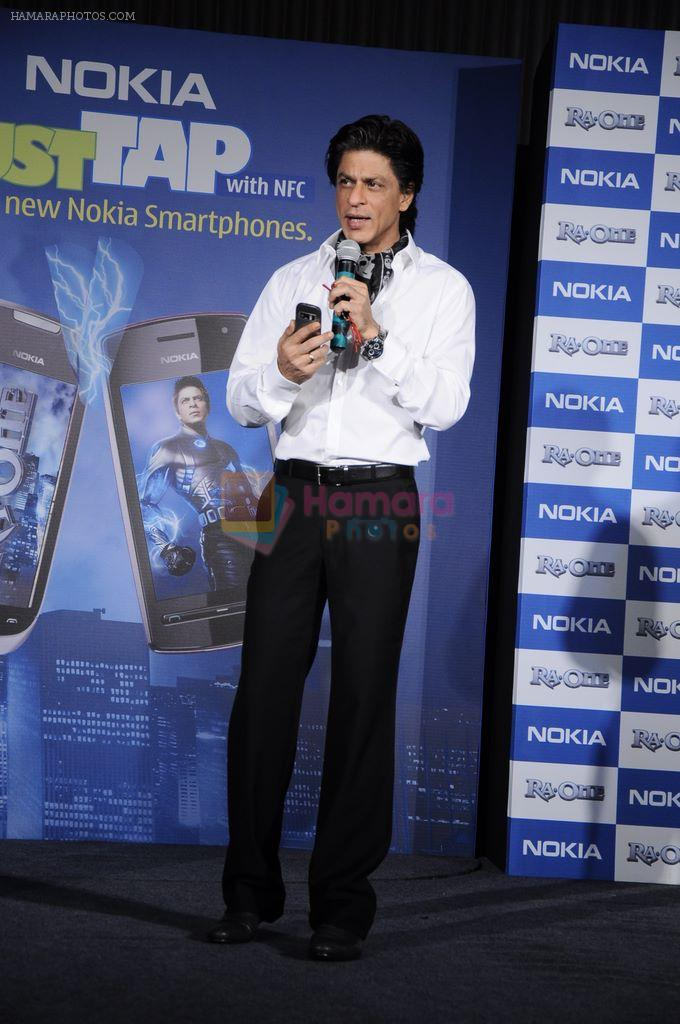 Shahrukh Khan unveils the new Nokia Symbian mobile in Trident, Mumbai on 28th Sept 2011