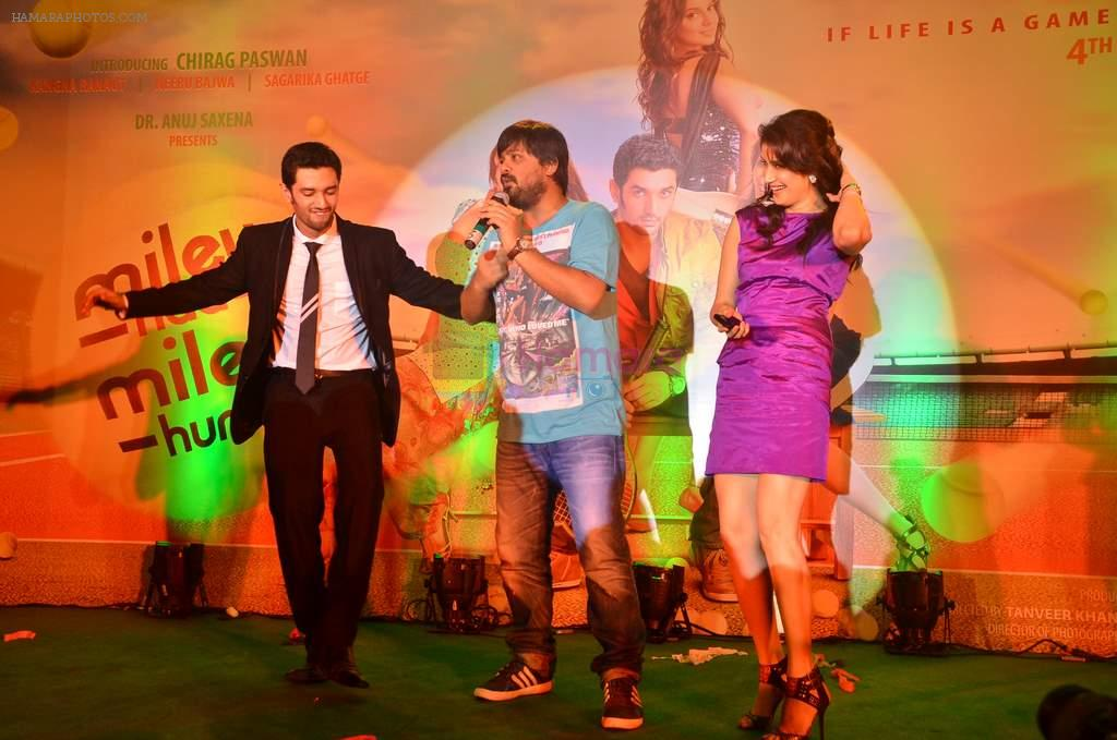 Sagarika Ghatge, Chirag Paswan, Wajid at the audio release of the film Miley Naa Miley Hum in Novotel on 28th Sept 2011