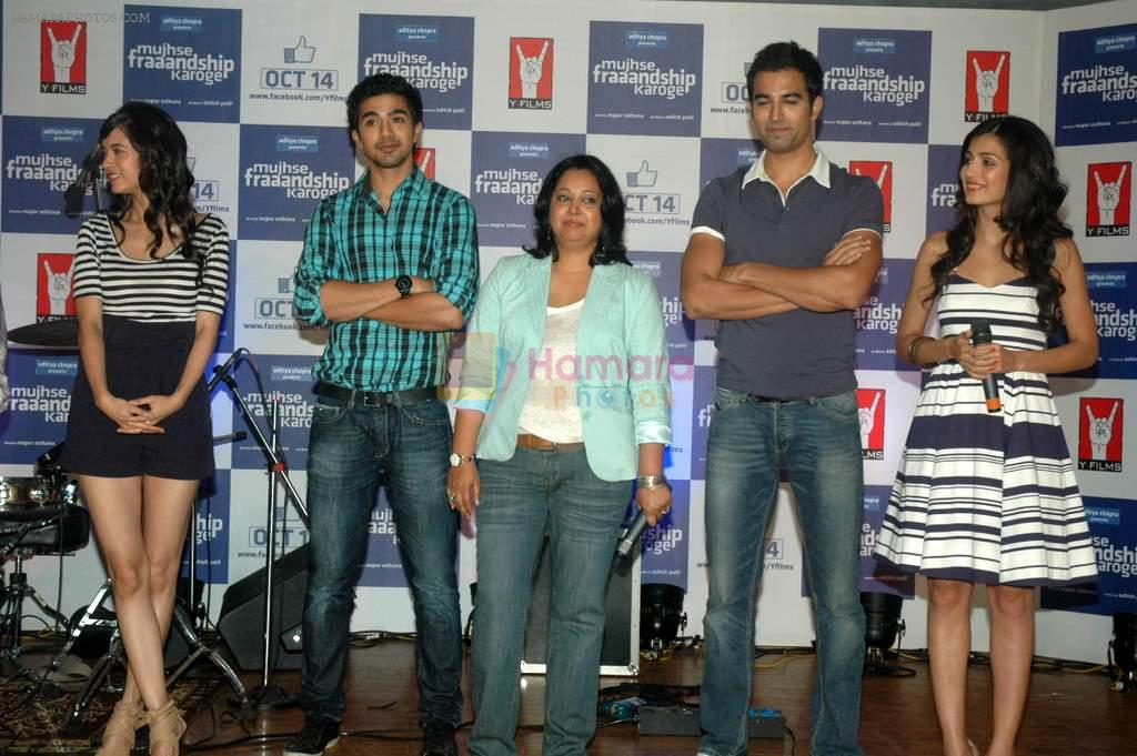 Saqib Saleem, Tara D'souza, Saba Azad, Nishant Dahiya at the Audio release of Mujhse Fraaandship Karoge in Yashraj Studios on 28th Sept 2011