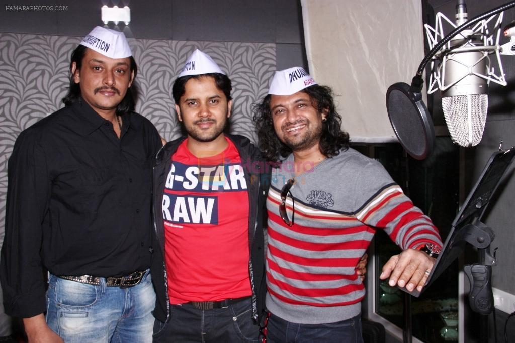Amitabh Dayal, Javed Ali and Jojo at the recording of anti-corruption song, Dhuaan Against Corruption