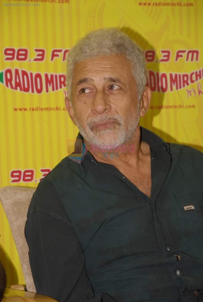 Naseeruddin Shah with the star cast of Chaalis Chaurasia at Radio Mirchi in Parel, Mumbai on 27th Dec 2011