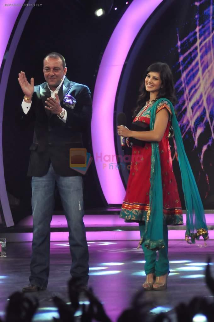 Sunny Leone, Sanjay Dutt On the sets of Bigg Boss 5 with Players star cast on 31st Dec 2011