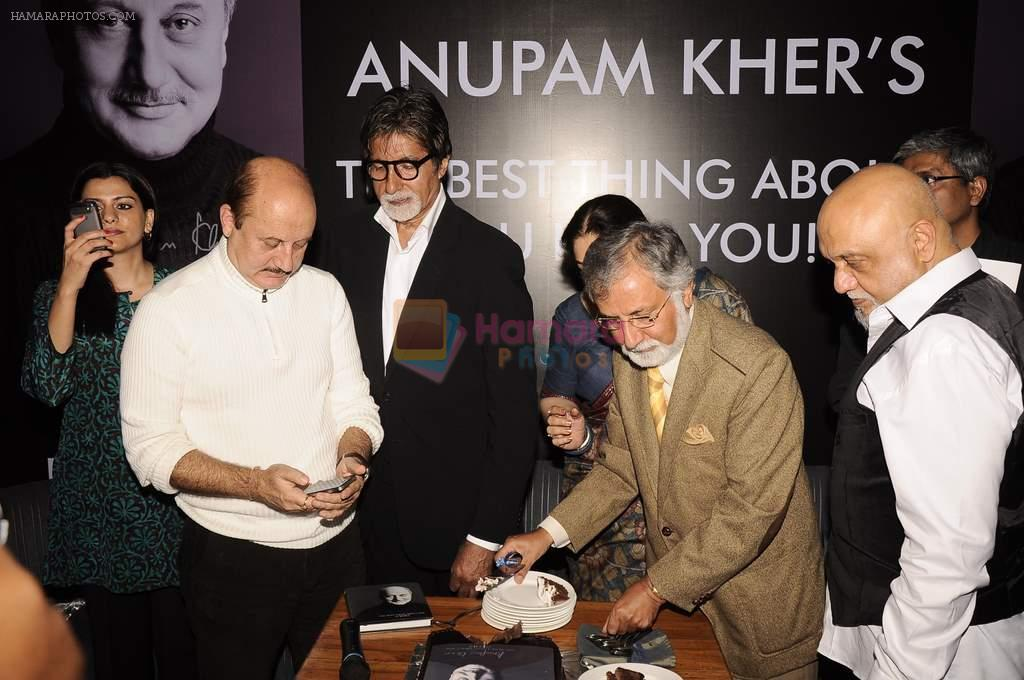 Amitabh Bachchan, Anupam Kher, Kiron Kher, Pritish Nandy at Anupam Kher's book launch in Le Sutra on 3rd Jan 2012