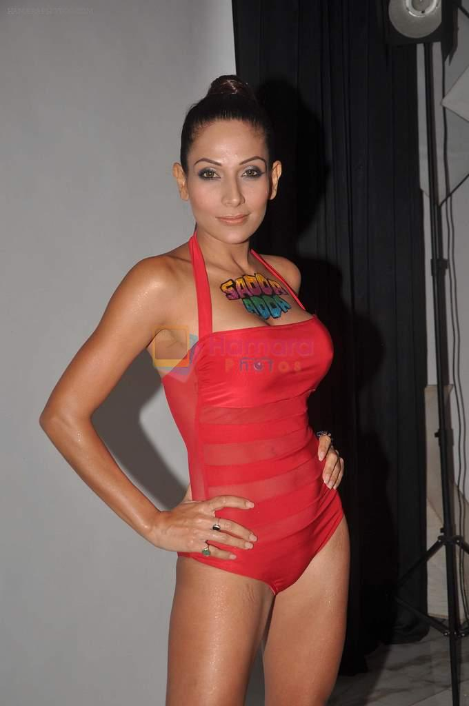 Shaurya Chauhan promotes film Sadda Adda in a bikini in Andheri, Mumbai on 4th Jan 2012