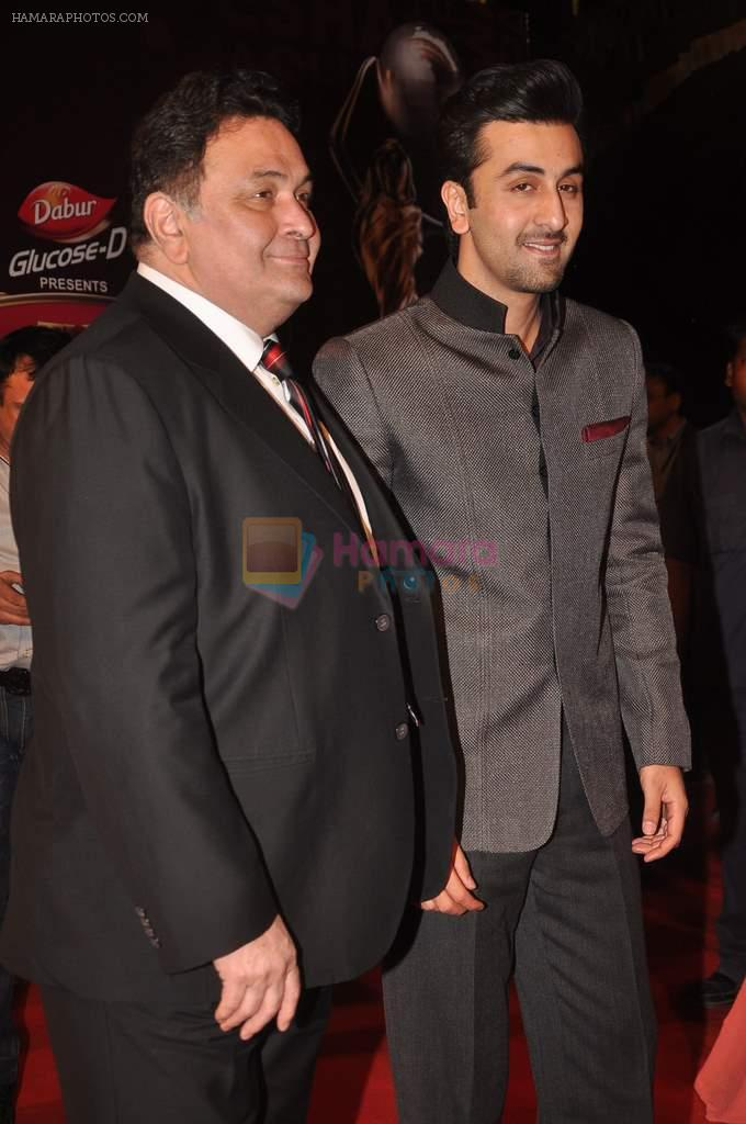 Ranbir Kapoor, Rishi Kapoor at The Global Indian Film & Television Honors 2012 in Mumbai on 15th March 2012