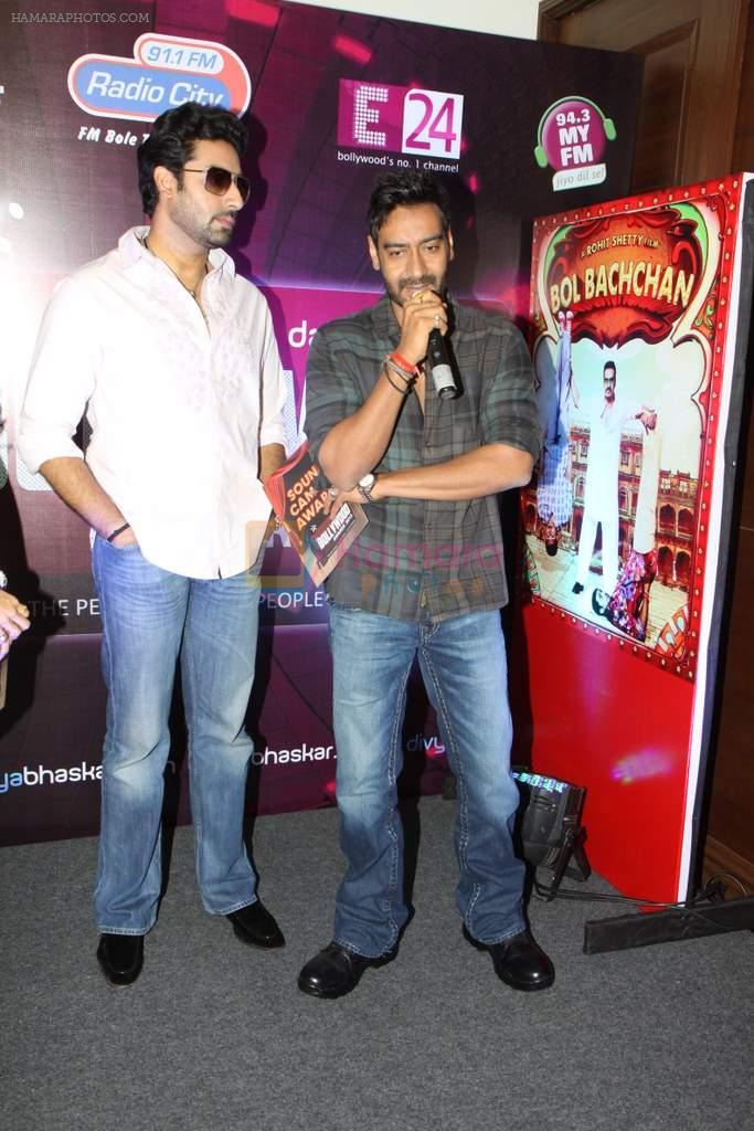 Abhishek  Bachchan, Ajay Devgan at Bol Bacchan promotions in Andheri, Mumbai on 23rd June 2012