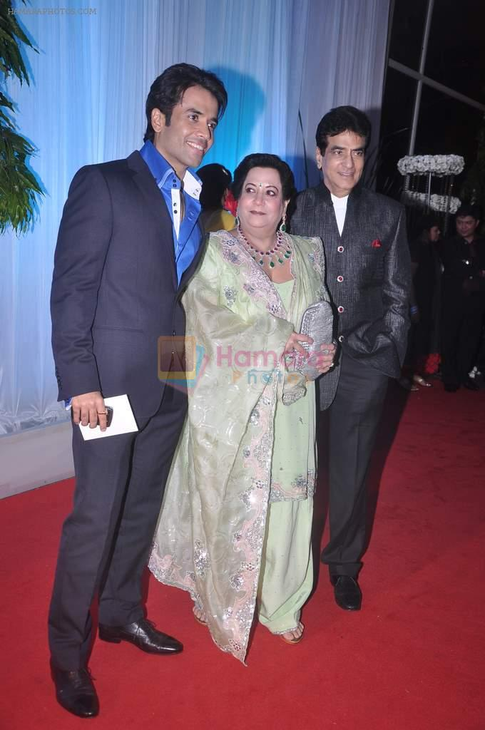 Tusshar Kapoor, Jeetendra, Shobha Kapoor at Esha Deol's wedding reception in five-star hotel,Mumbai on 30th June 2012