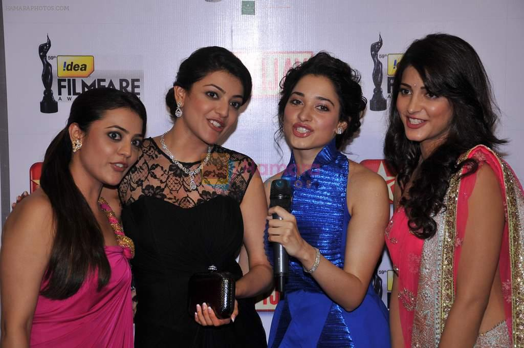 Nisha, Kajal Aggarwal, Tamanna & Shruti Hassan at the Red Carpet of _59th !dea Filmfare Awards 2011_