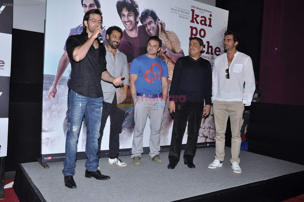 Abhishek Kapoor, Ronnie Screwvala, Hrithik Roshan, Arjun Rampal, Sohail Khan at kai po che trailor launch in Cinemax, Mumbai on 20th Dec 2012