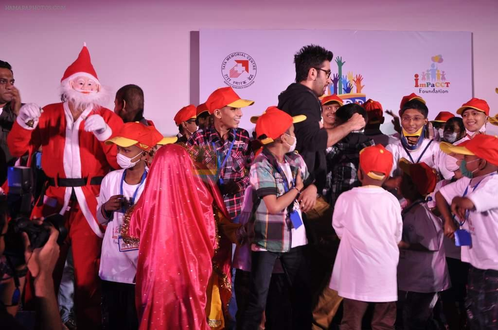 Ranbir Kapoor at Tata Memorial Hospital with cancer patients in Parel, Mumbai on 25th Dec 2012
