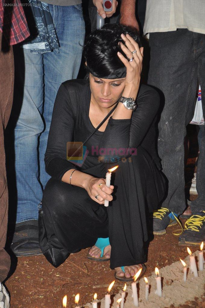 Mandira Bedi at the peace march for the Delhi victim in Mumbai on 29th Dec 2012