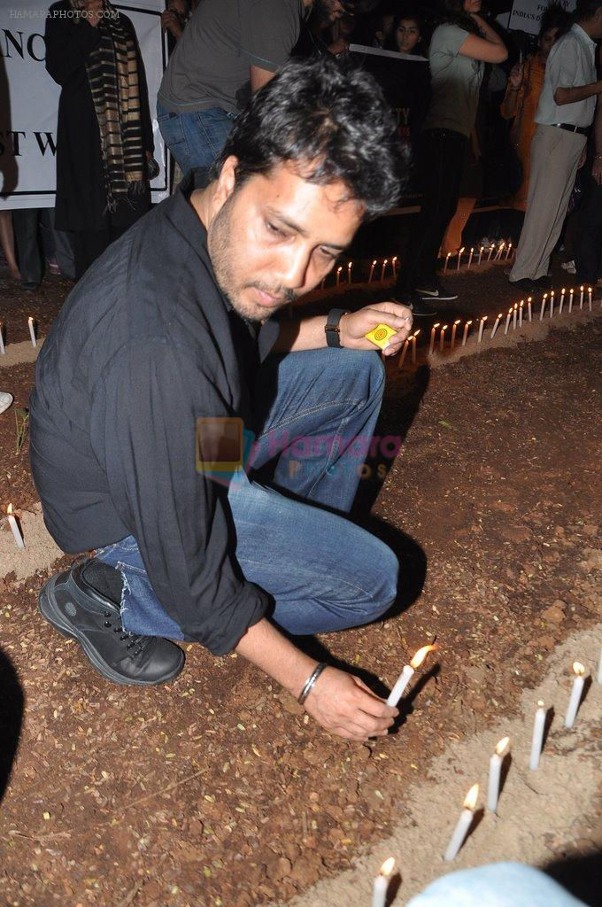 Mika Singh at the peace march for the Delhi victim in Mumbai on 29th Dec 2012