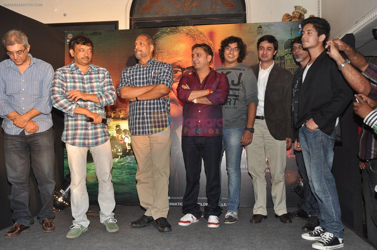 Ram Gopal Varma, Nana Patekar, Sukhwinder Singh at the Audio release of The Attacks Of 26-11 in Leopold, Mumbai on 11th Feb 2013