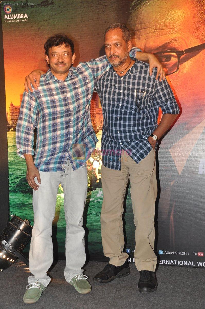 Ram Gopal Varma, Nana Patekar at the Audio release of The Attacks Of 26-11 in Leopold, Mumbai on 11th Feb 2013