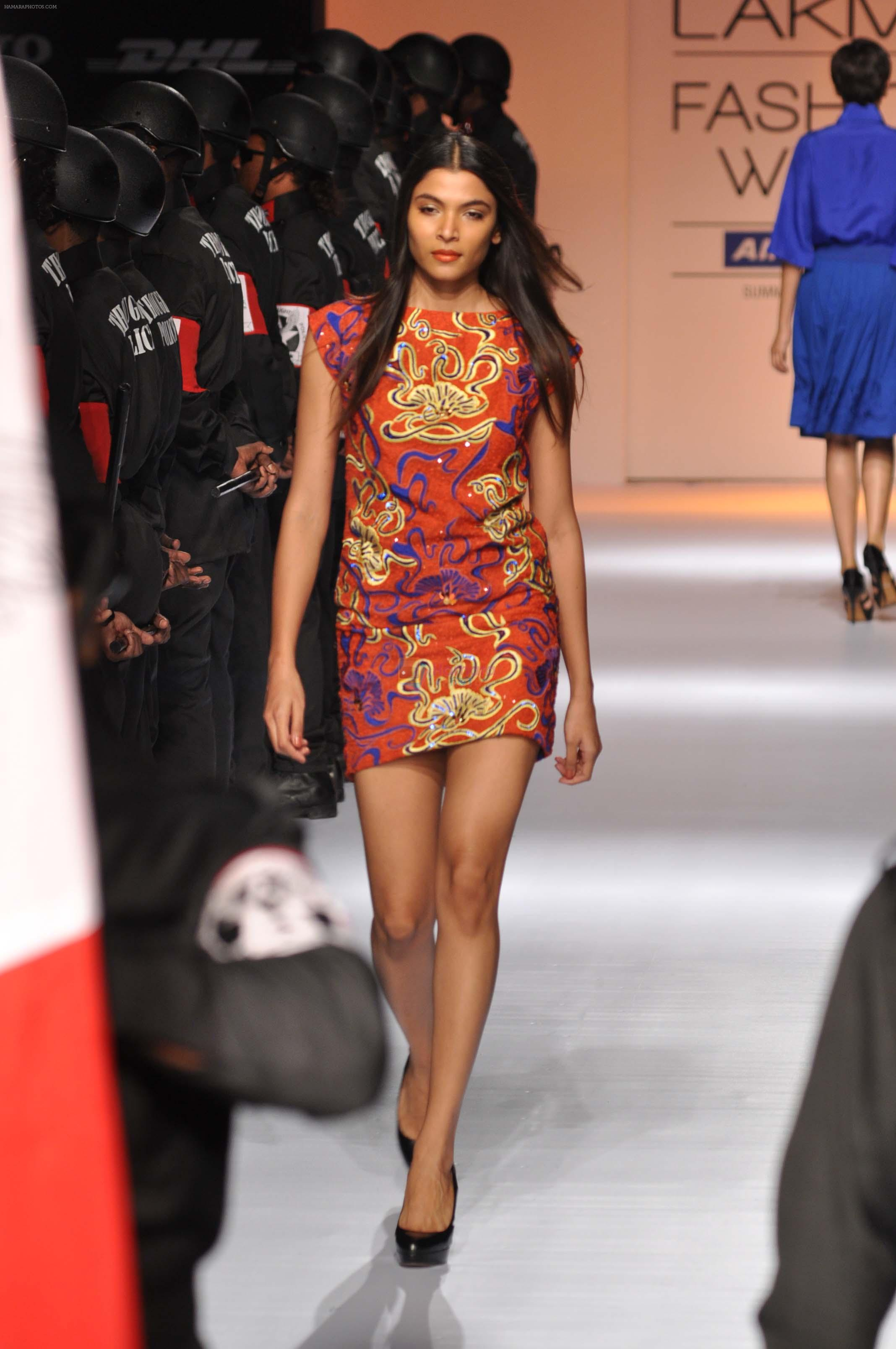Model walk the ramp for Narendra Kumar Show at Lakme Fashion Week 2013 in Grand Hyatt, Mumbai on 22nd March 2013