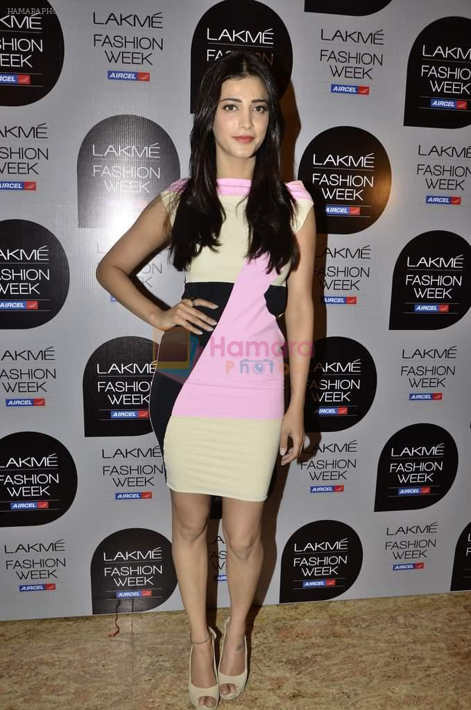 Shruti Hassan on Day 1 at Lakme Fashion Week 2013 in Grand Hyatt, Mumbai on 22nd March 2013