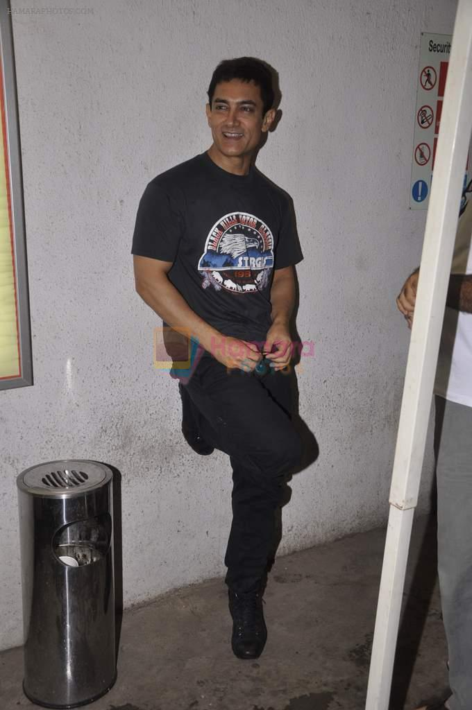 Aamir Khan snapped while dubbing for his film in Reliance Mediaworks on 28th July 2013