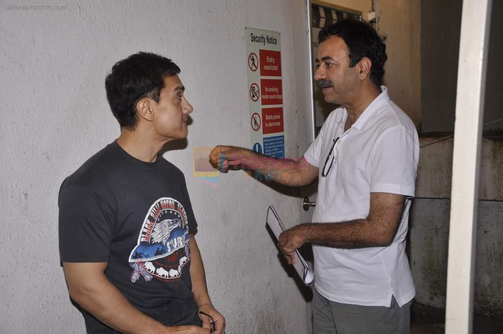 Aamir Khan, Rajkumar Hirani snapped while dubbing for his film in Reliance Mediaworks on 28th July 2013