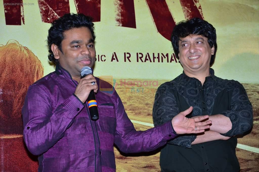 A R Rahman, Sajid Nadiadwala at the First look launch of Highway in PVR, Mumbai on 16th Dec 2013