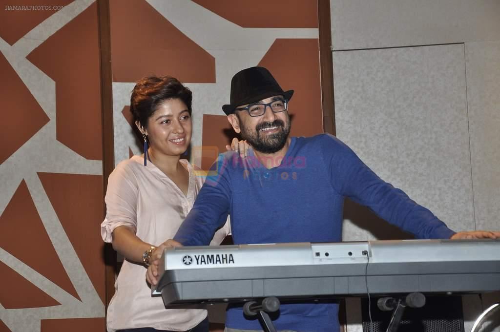 Sunidhi Chauhan with her husband Hitesh Sonik  at the recording of Amol Gupte's music video in Mumbai on 16th feb 2014